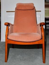 High Back Fireside Lounge Chair, Terracotta Colour (see photos)