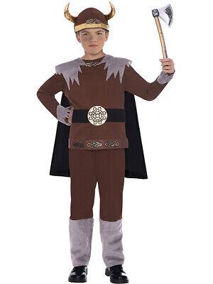 Childs Viking Warrior Fancy Dress Costume + Helmet - Viking Boy Kostüme