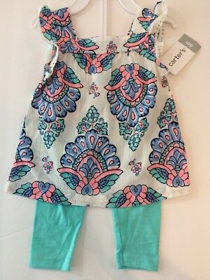 Carter's Baby Girls 6 Months Spring Summer Outfit Blue Pink Green NEW $24 Gauze