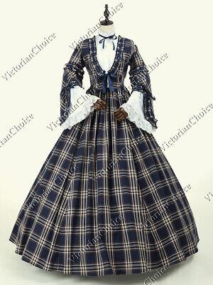 Victorian Vintage Plaid Prairie Dress Tartan Pioneer Woman Halloween Costume 158