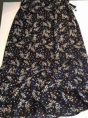 Sag Harbor - Long - Black Floral Print Skirt - Flared Hemline - size 14