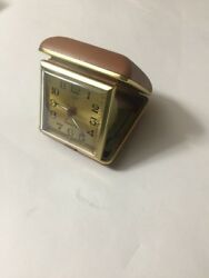 VINTAGE WIND UP TRAVEL ALARM CLOCK SQUARE CASE TAIWAN