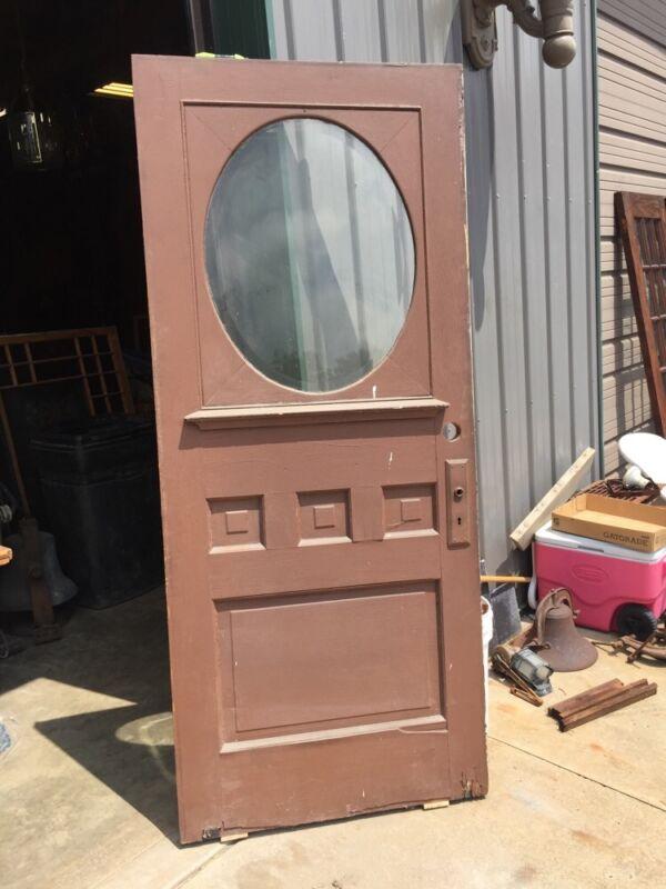 D 223 Antique Half Beveled Glass Oval OAk Entrance Door