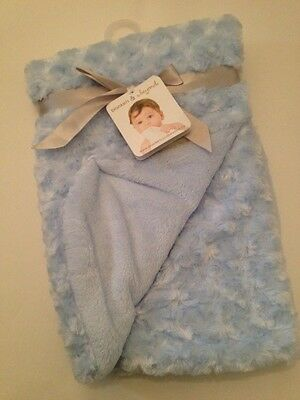 Blankets And & Beyond Baby Boy Blanket Blue Rosette Layette Newborn Gift Soft