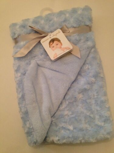 Blankets And  Beyond Baby Boy Blanket Blue Rosette Layette Newborn Gift Soft