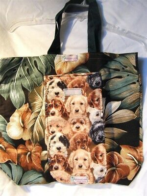 Roll-up Hazel Lee Travel Tote Carry All Cloth Bag Dog & Island Theme