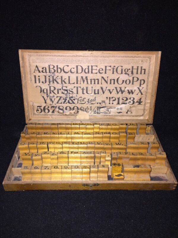 Antique Letter Printing Kit Upper Lower Numbers And Symbols