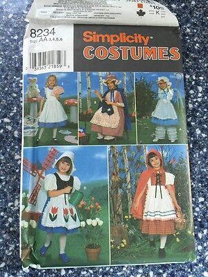 Simplicity #8234 NURSERY RHYMES Costumes Sewing Pattern Child Size 3-6 - Nursery Rhymes Costumes