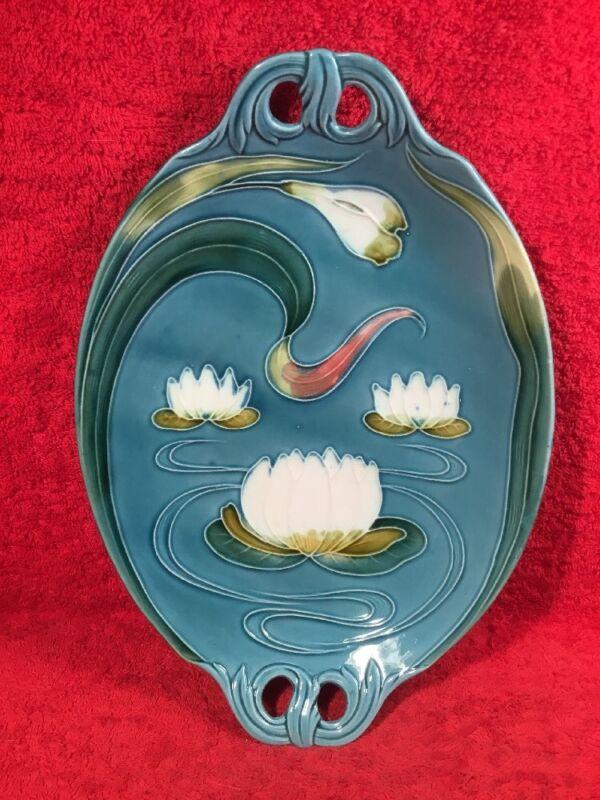 Antique German Majolica Art Nouveau Water Lily Platter Blue