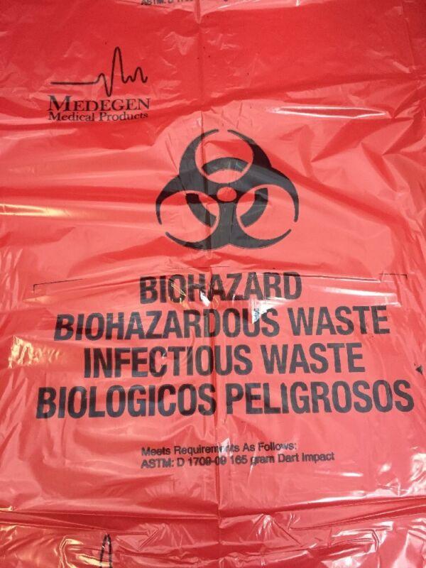 New Box Of 250 Medegen Red Biohazard Waste Bags 33x40