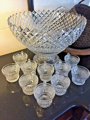 """Westmoreland Clear ENGLISH HOBNAIL 14 1/4"""" Punch Bowl w/ Stand, Ladel &10 Cups"""