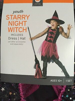 NWT Youth Starry Night Witch Halloween Costume dress Tulle Skirt Hat Large