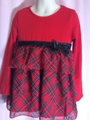 NWOT-Healthtex 5T Christmas Party Red Black Plaid Bow Holiday Dress  ii10 (5t Christmas Dresses)
