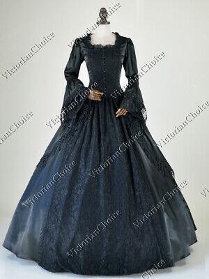 Renaissance Marie Antoinette Black Masquerade Witch Gown Steampunk Dress 142 XXL