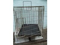 METAL DOG CAGE / CRATE, used. h52.5 x w46.5 x d62cm max. COLLECTION ONLY