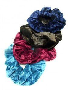 Large-Coloured-Velvet-Feel-Hair-Scrunchie-Bobble-Hair-Band-Elastic-Accessories
