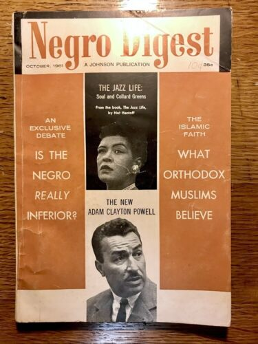 Vintage NEGRO DIGEST Magazine October 1961 Vol. XII #12