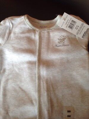 New...Ralph Lauren Baby Unisex Neutral Grey One Piece baby grow 9 Months RRP £30