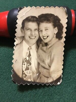 """Vintage Old Late 1930's Photo Fashion Forward Couple Woman And Man 2"""" X 3"""""""