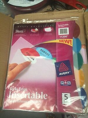 NEW AVERY STYLE EDGE INSERTABLE PLASTIC REFERENCE DIVIDERS . 1 CASE OF 24