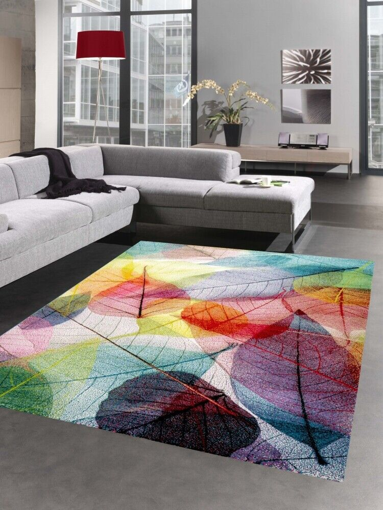 Tappeto moderno moquette da salotto disegno delle foglie colorato