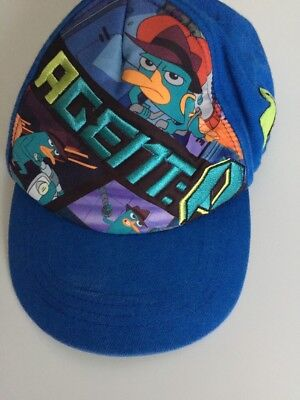 Boys-Disney-Phineas-&-Ferb-Agent-P-Hat-Child-Adjustable-Snap-Back-Blue-Green-NEW