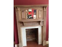 Fire surround, original period stripped wooden fire surround with integral mirror