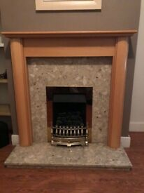 Gas fire, with marble Surround and wooden shelf