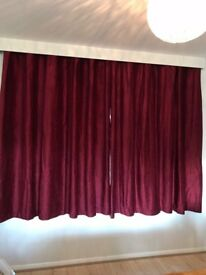 Dunelm Chenille red Eyelet curtains 228x182cm New
