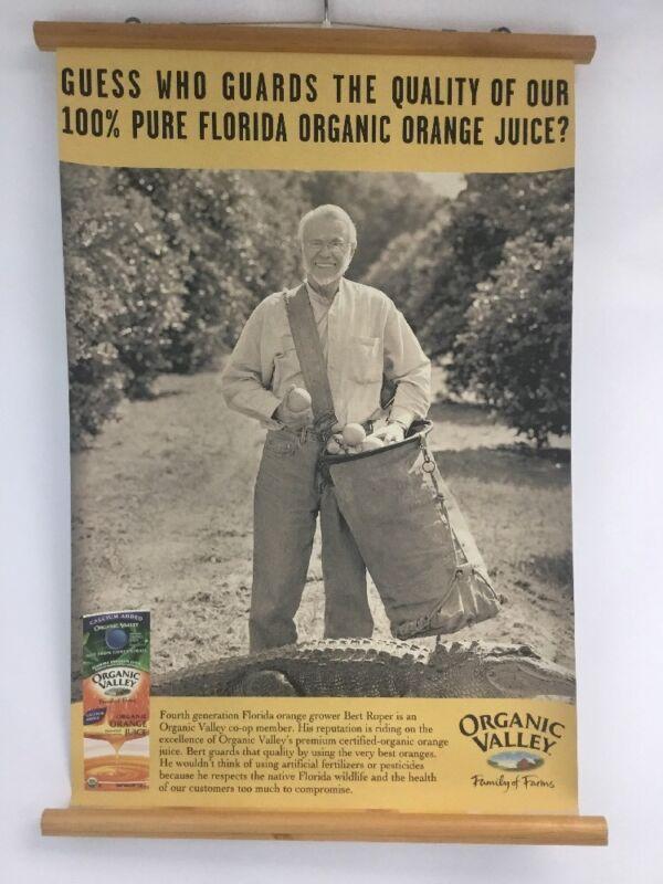 Organic Valley Promo Scroll Poster Retro Collectible Florida Orange Juice