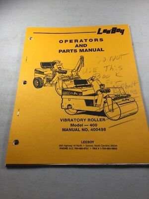 Leeboy 400 Vibratory Roller Operation Parts Manual Book