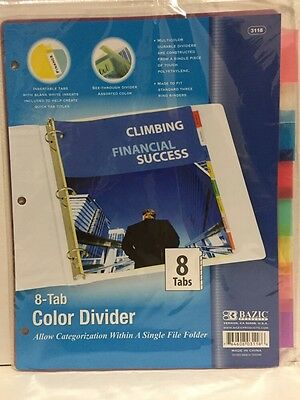 Bazic 3118 3-ring Binder Dividers With 8-insertable Color Tabs