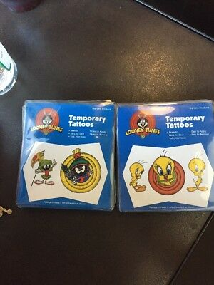TWEETY BIRD & MARVIN THE MARTIAN TEMPORARY TATTOOS - LOT OF 2 LOONEY TUNES