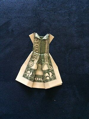 Money Origami -  made with a $2 Dollar Bill folded (Dress) paper folding
