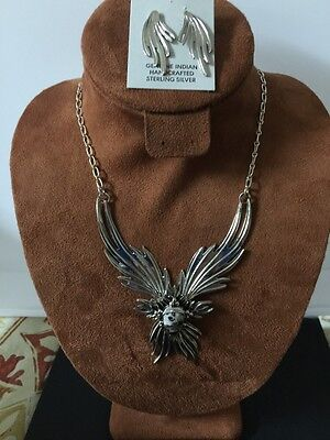 Navajo Native American White Buffalo Turquoise Phoenix Necklace Set Charles J #9