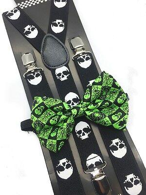 Halloween Bow Ties (Green Halloween Skull Design Bow Tie & Suspender Set Tuxedo Wedding Accessories)