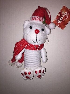 Christmas Holiday Hanging Ornament White Cat Wearing Santa Hat and Scarf