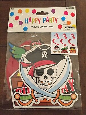 NEW Pirate Birthday Halloween Party Hanging Decorations 3 Pieces BN10 (Halloween Pirate Decorations)