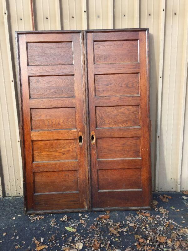 Cm 83 One Pair Antique Flat Panel Oak Pocket Doors