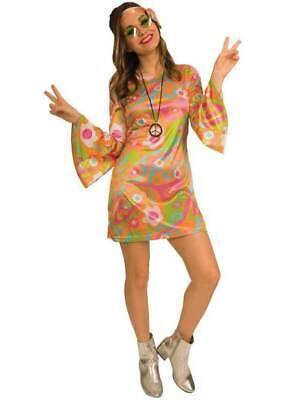 Adult Ladies 1960s Groovy Baby Hippy Costume Fancy Dress 1970s Hippie Womens