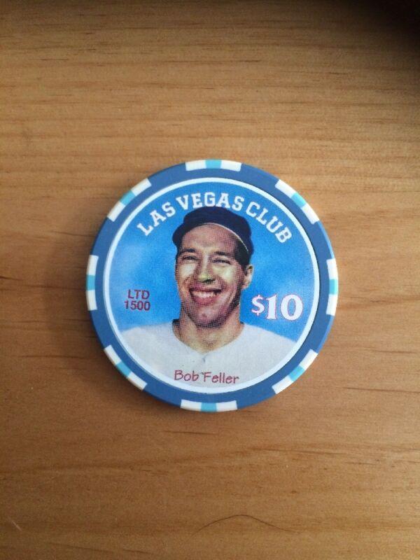 $10 Bob Feller LAS VEGAS CLUB Nevada Obsolete Casino Poker Chip Free Shipping
