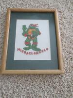 "NINJA TURTLES ""MICHAELANGELO"" FRAMED NEEDLEPOINT~OAK FRAM"
