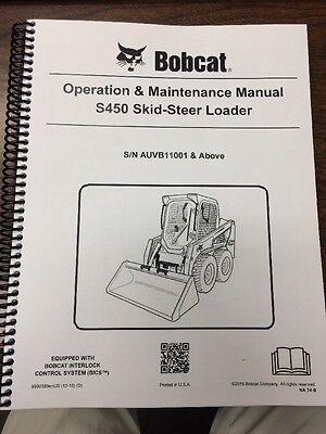 Bobcat S450 Operation Maintenance Manual Book Skid Steer Sn Auvb11001 6990389