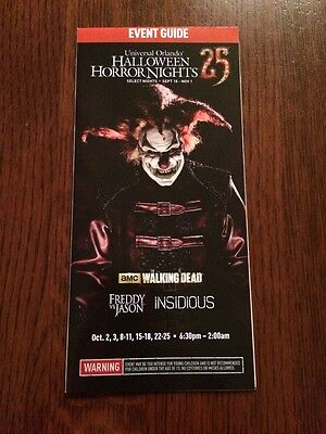Halloween Horror Nights Orlando  HHN 25 Event Guide Map See Dates FREE SHIPPING - Halloween Horror Nights Dates