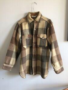 Vintage Woolrich 1960s Shirt. Workwear Mens Medium Beige Brown Grey