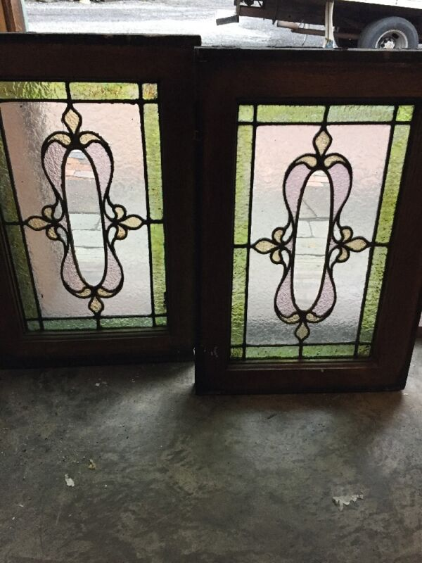 Sg 904 Matched Pair Antique Stainglass Windows