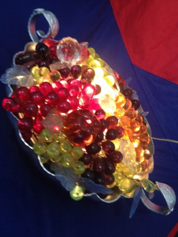 VINTAGE ANTIQUE CZECH GLASS NIGHT LIGHT LAMP LARGE FRUIT BASKET - BEAUTIFUL RARE