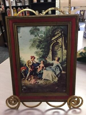 Made In Italy-French 18th Century Scene On Board-Wood Frame-8.5' X 6.5'-Cute!!