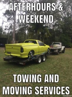 Car trailer towing moving