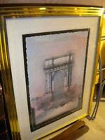VERY LARGE MATTED GOLD FRAMED PICTURE WITH GLASS VERY NICE!